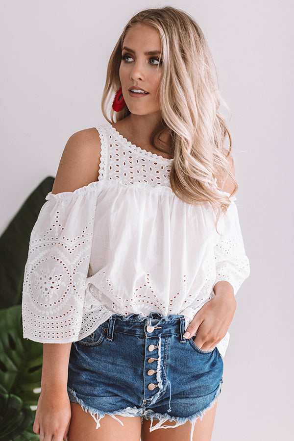 Stunning In St. Lucia Eyelet Top in White
