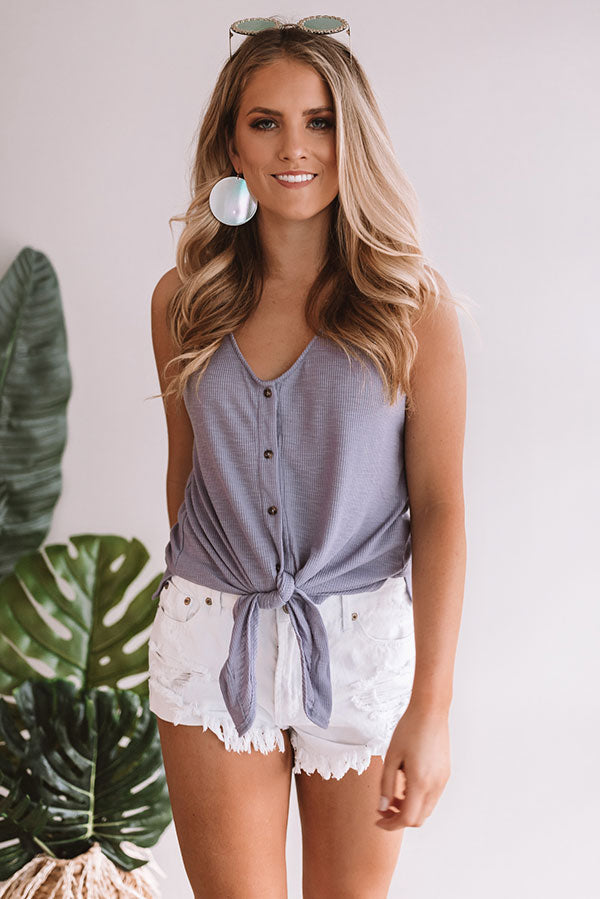Meet Me In Sonoma Front Tie Tank in Lavender