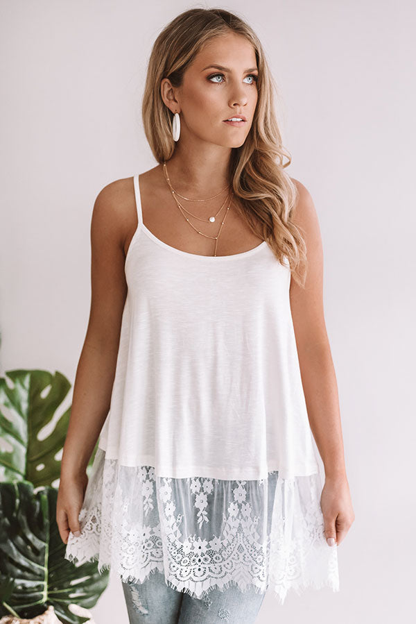 Warmer Days Lace Trim Tank in White