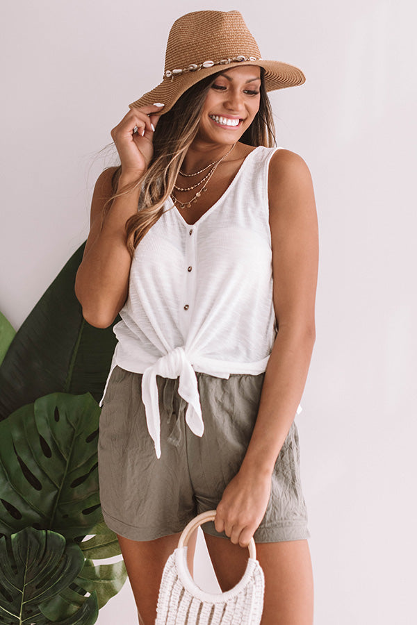 Meet Me In Sonoma Front Tie Tank in Ivory