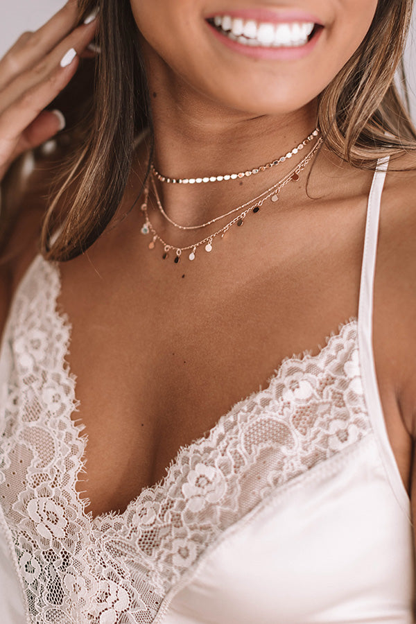 Sweet Talk Layered Necklace In Rose Gold