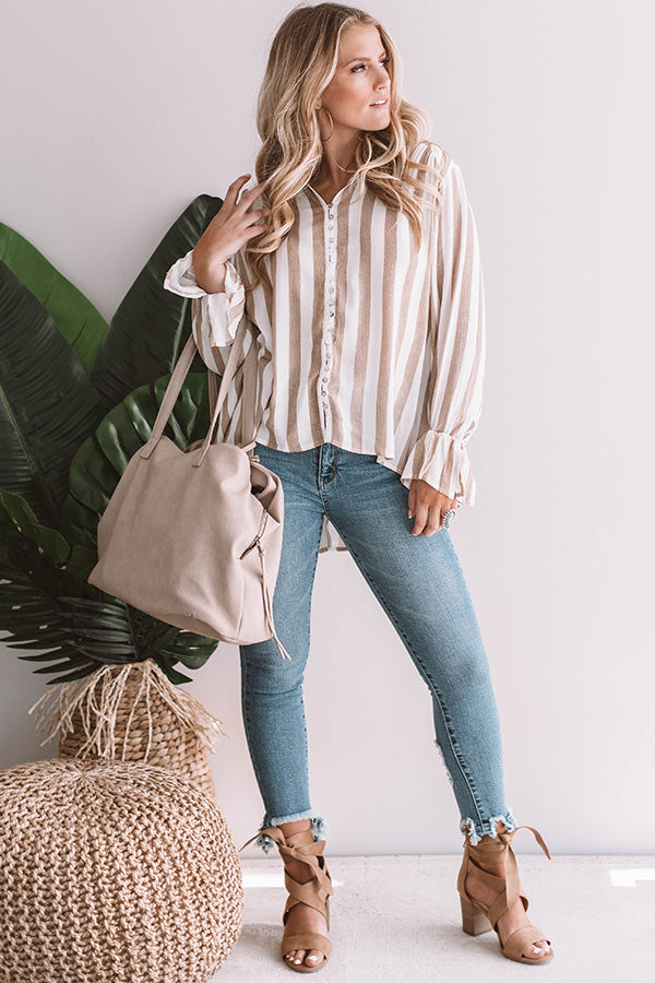 Slope Style Striped Top In Iced Latte