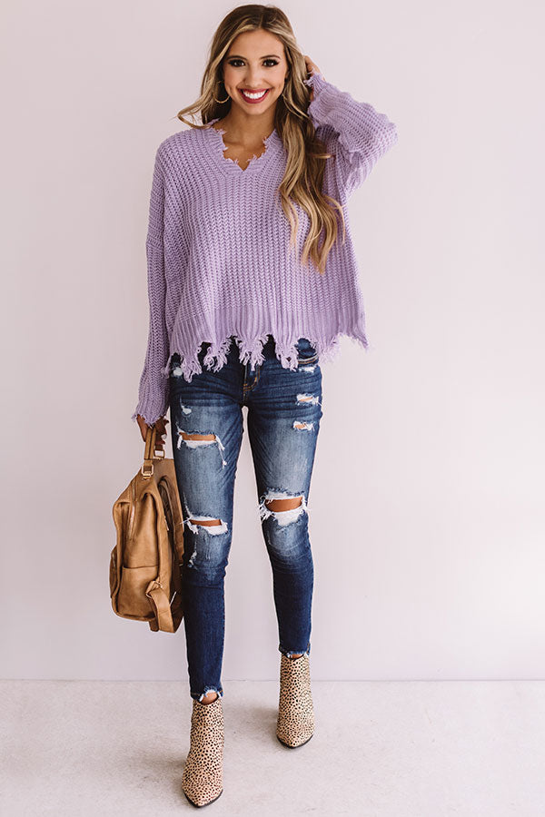 Always Fashionably Late Knitted Hoodie In Lavender