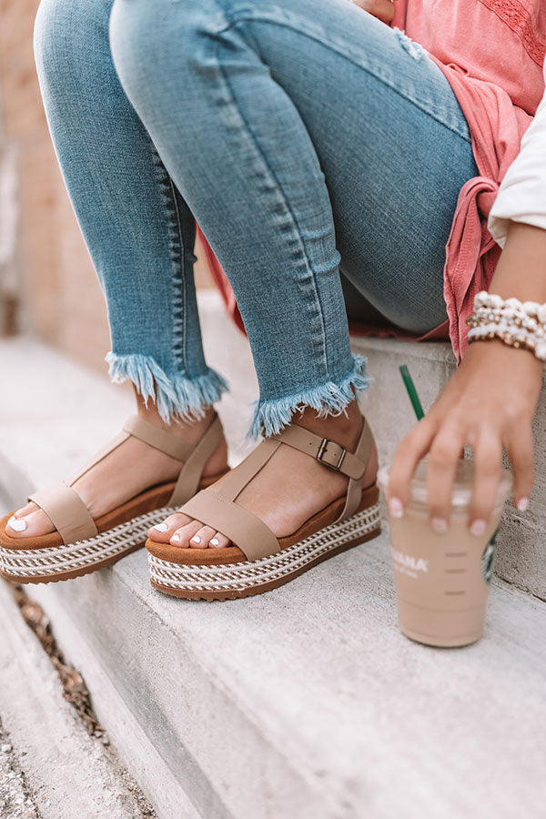 The Cassia Espadrille In Iced Latte
