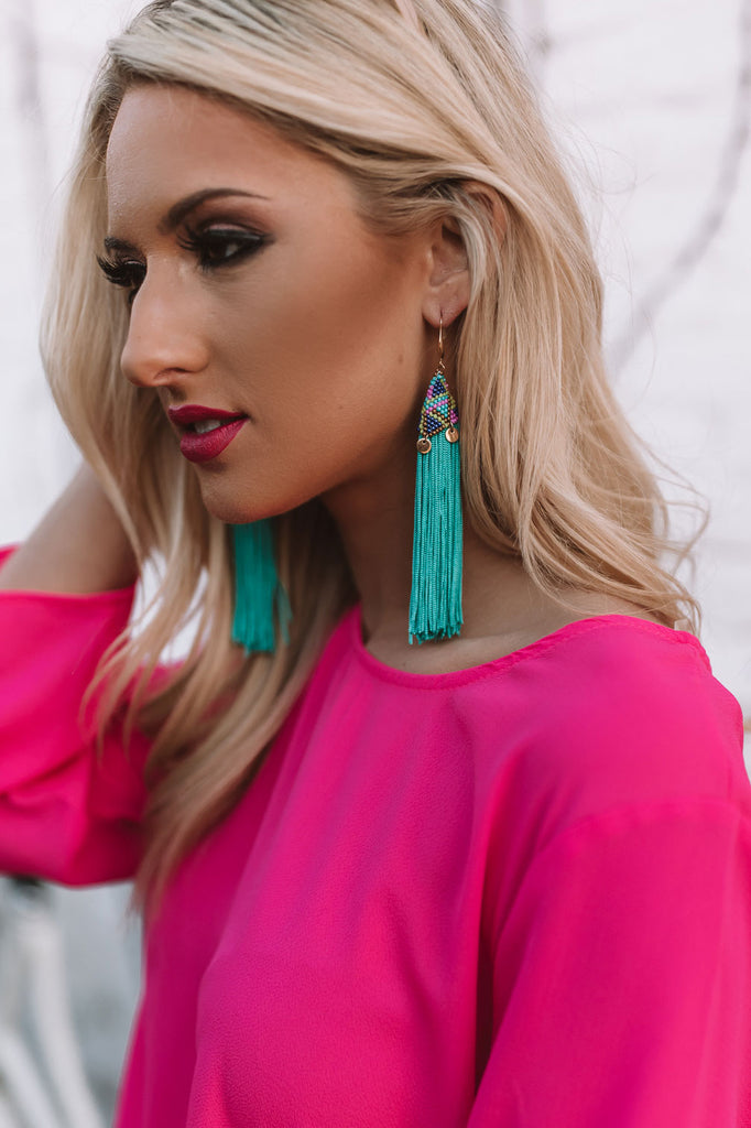 Escape To Paradise Earrings In Turquoise
