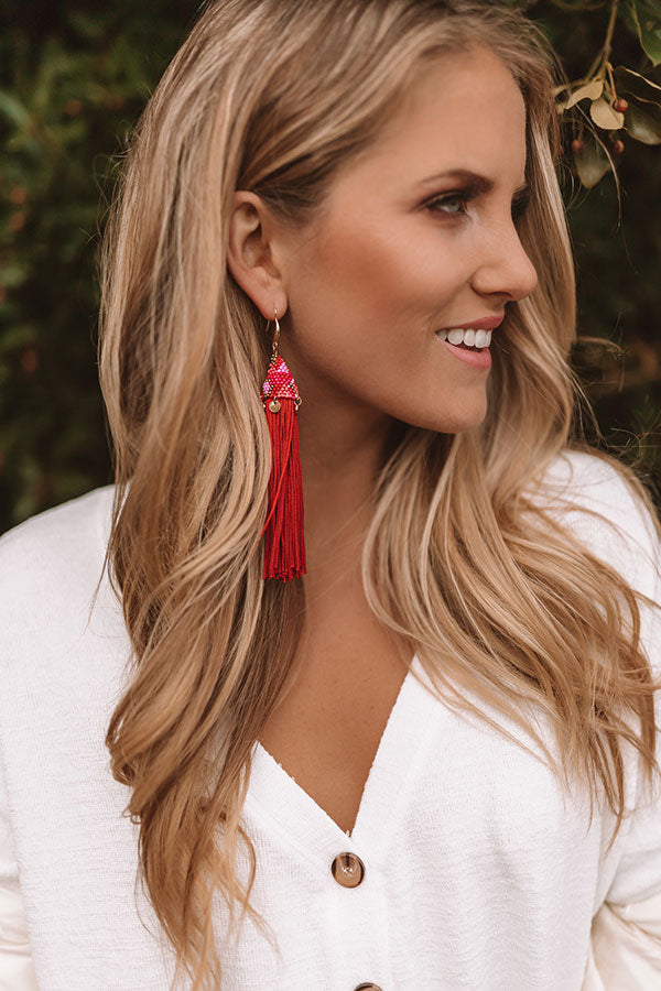 Escape To Paradise Tassel Earrings Red