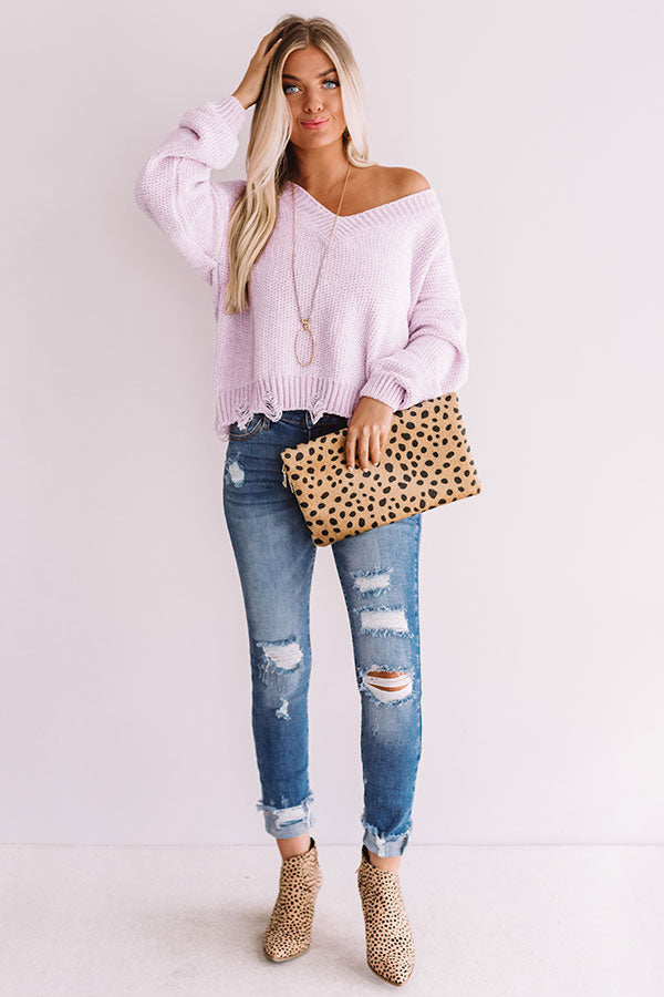 Dreamy Afternoon Chenille Sweater in Dusty Purple