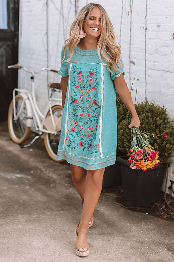 Dreaming Of Summer Embroidered Dress In Aqua