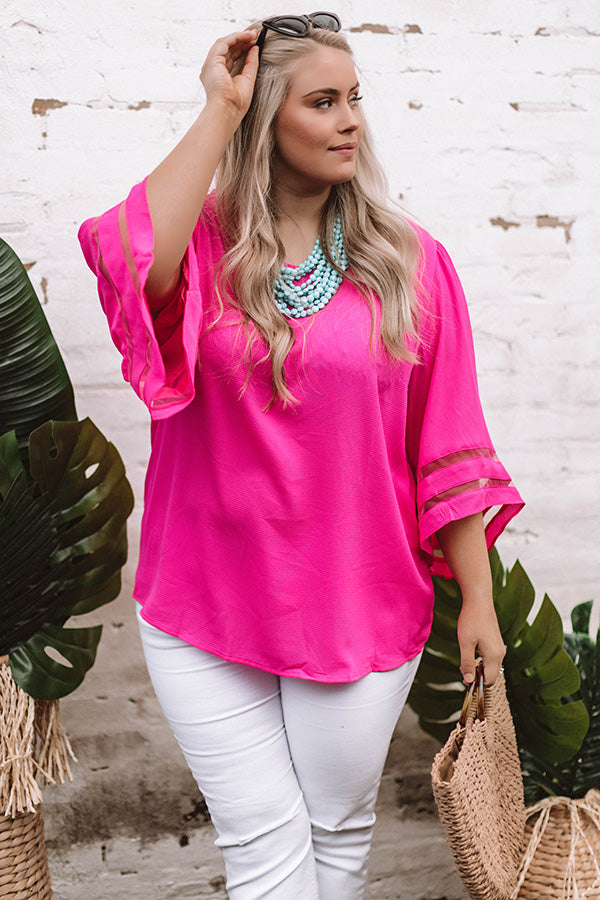 Italian Romance Shift Top In Hot Pink