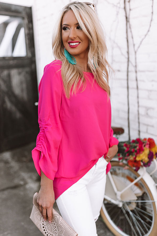 Champagne Coast Shift Top In Hot Pink