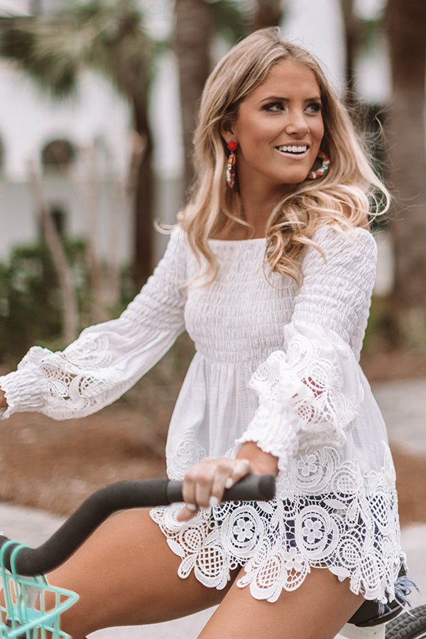 Greek Isle Getaway Crochet Off Shoulder Top
