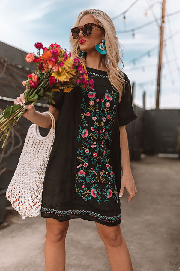 Dreaming Of Summer Embroidered Dress In Black