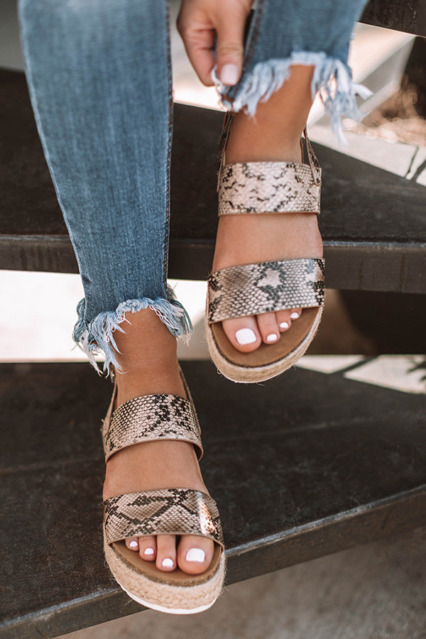 The Bianca Espadrille In Snake Print
