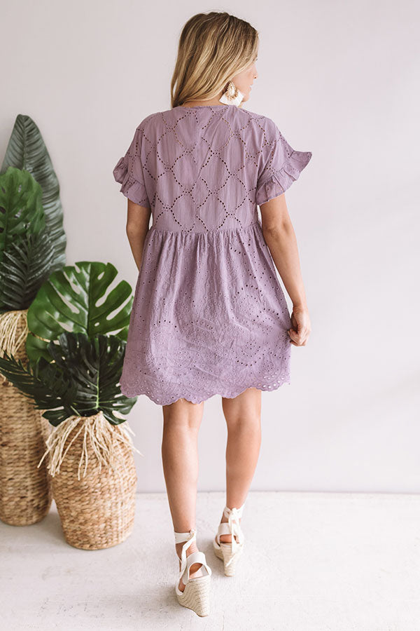 Prosecco On The Pier Eyelet Dress In Lavender