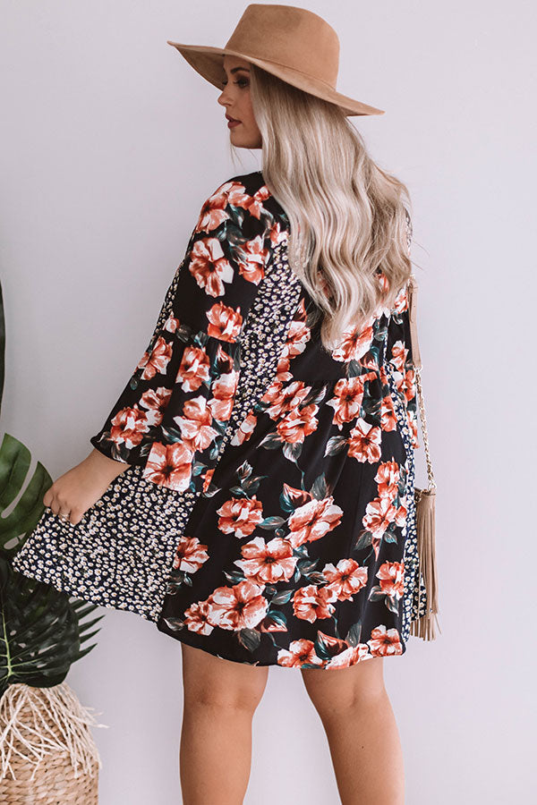 Prosecco In Portofino Floral Babydoll Dress in Black