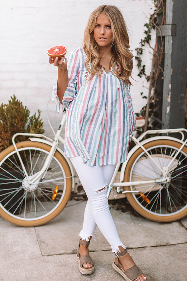 Watercolor Sunsets Stripe Tunic