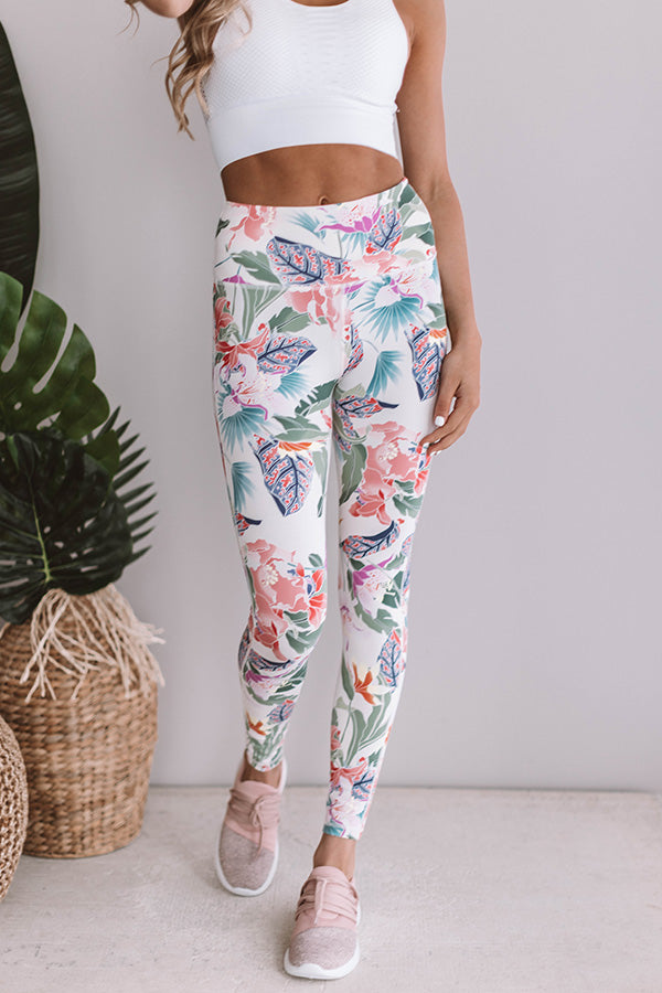 Floral Paradise High Waist Legging In Ivory