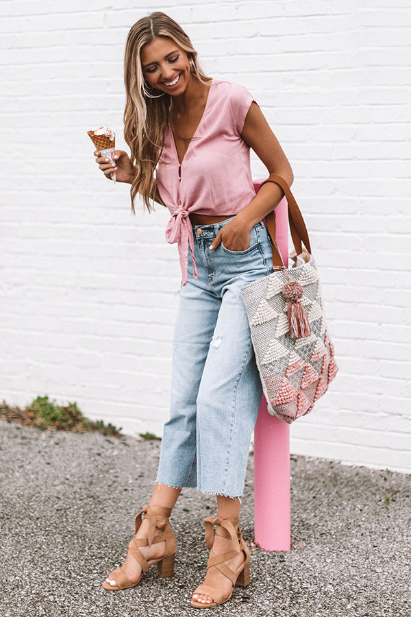 Weekend Haute Spot Tie Top In Blush