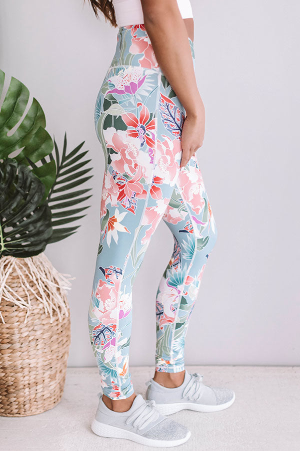 Floral Paradise High Waist Legging In Airy Blue