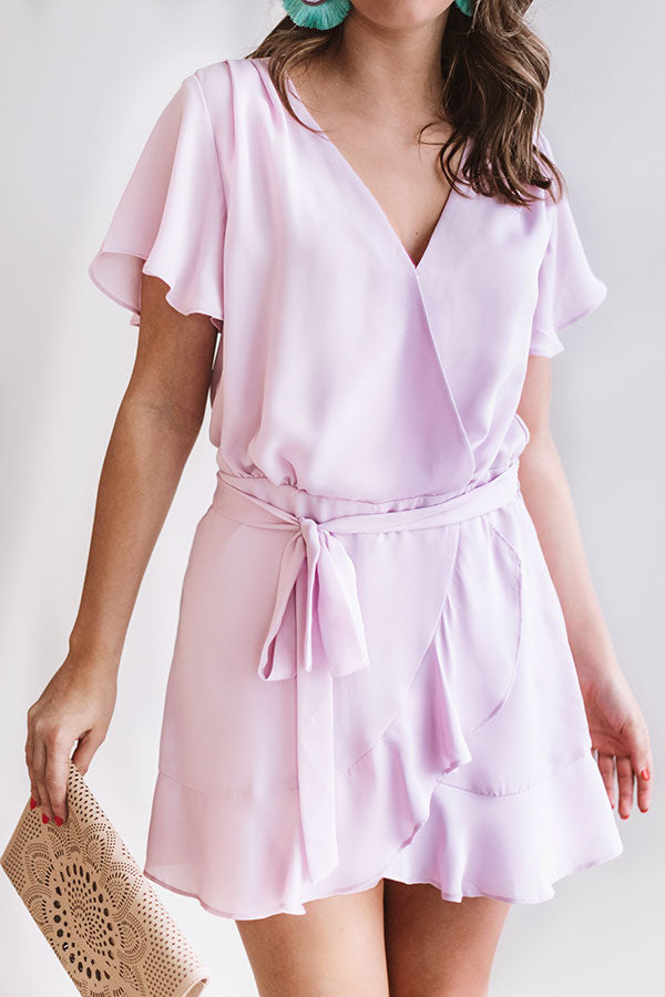 Celeb Status Ruffle Romper In Light Violet