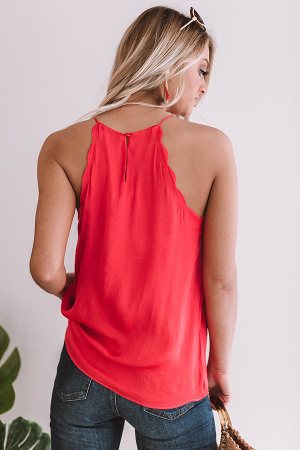 Keep The Champagne Coming Scalloped Tank In Raspberry