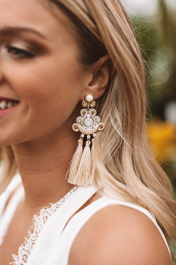 Cabo And Kisses Tassel Earrings In Ivory