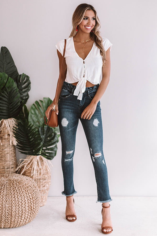 Weekend Haute Spot Tie Top In White