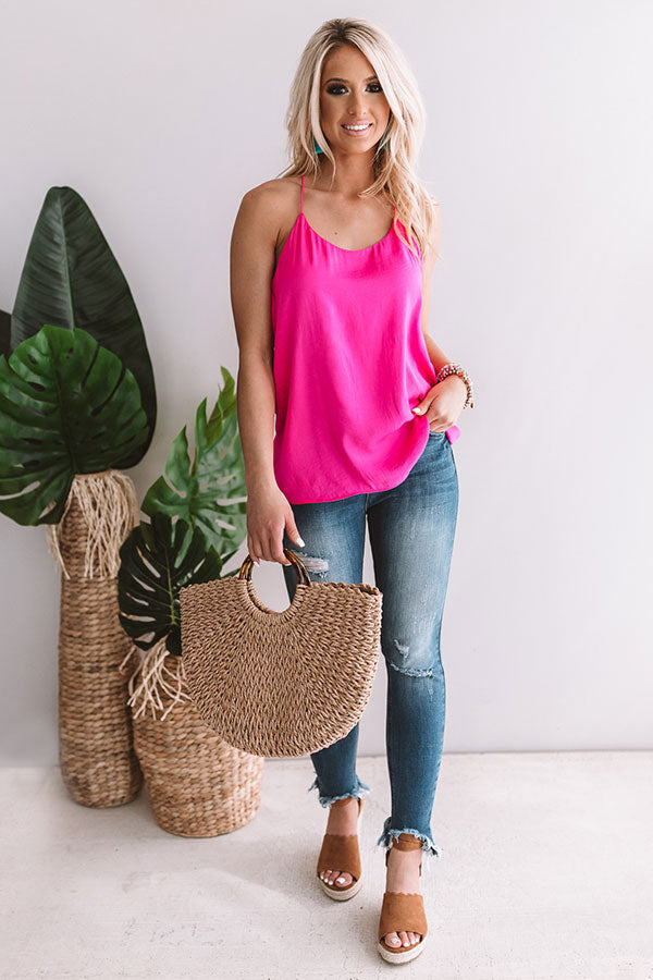 Honolulu Happy Hour Shift Tank In Hot Pink