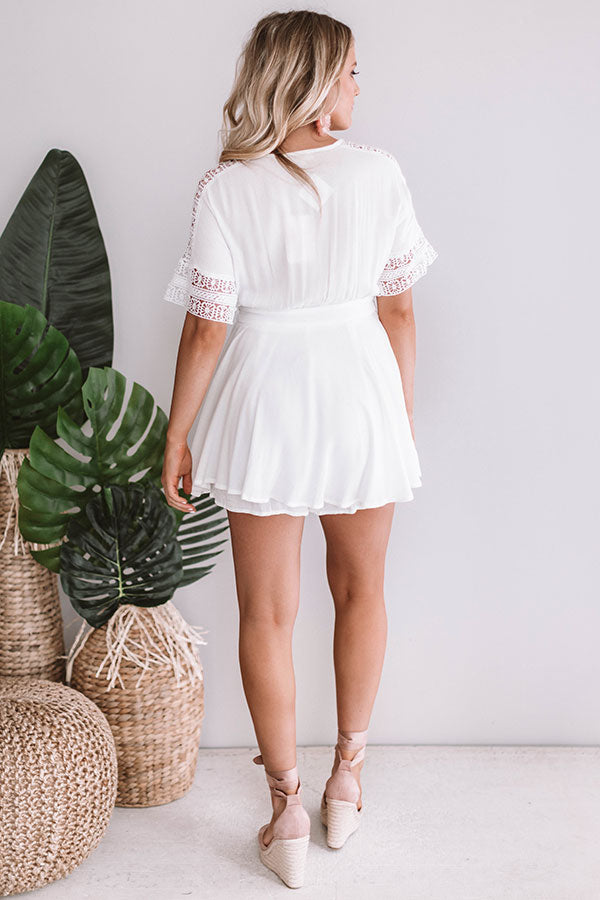 Cabo and Kisses Wrap Romper In White