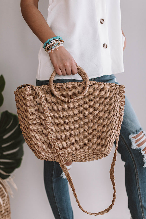 Tropical State Of Mind Woven Tote In Tan