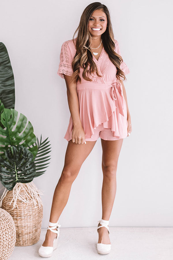 Cabo and Kisses Wrap Romper In Blush