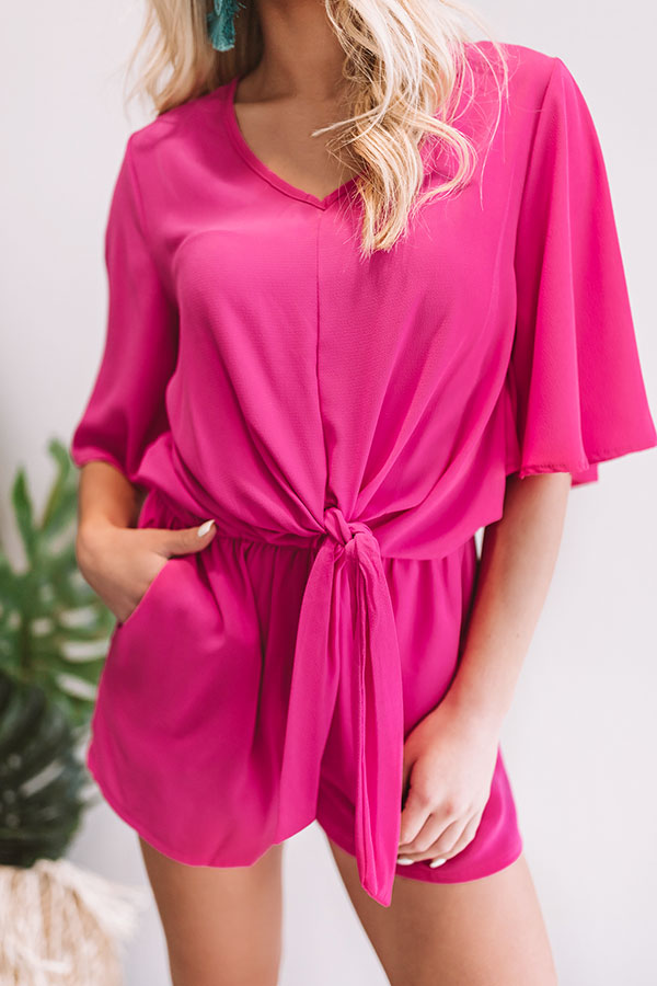 Take Me To Tribeca Romper In Fuchsia