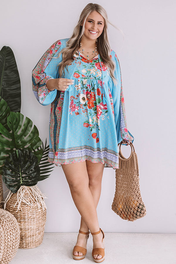 Sips And Sights Floral Babydoll Dress In Sky Blue
