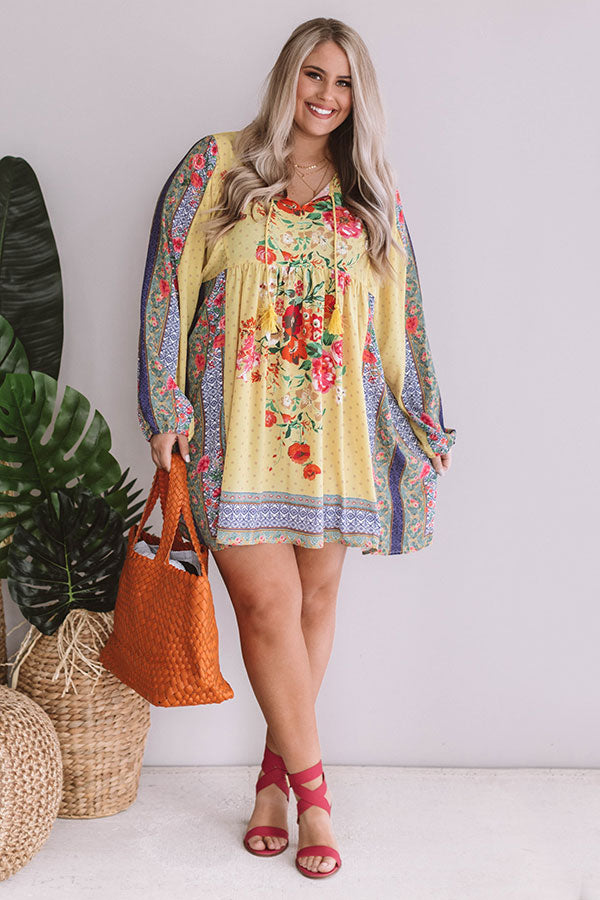 Sips And Sights Floral Babydoll Dress In Yellow
