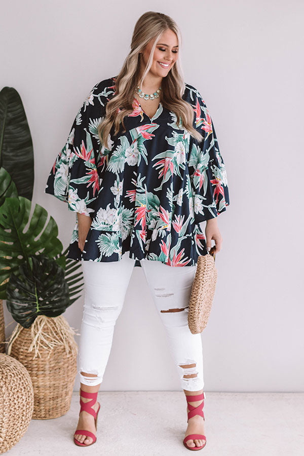 Hello, Bungalow Floral Babydoll Top In Navy