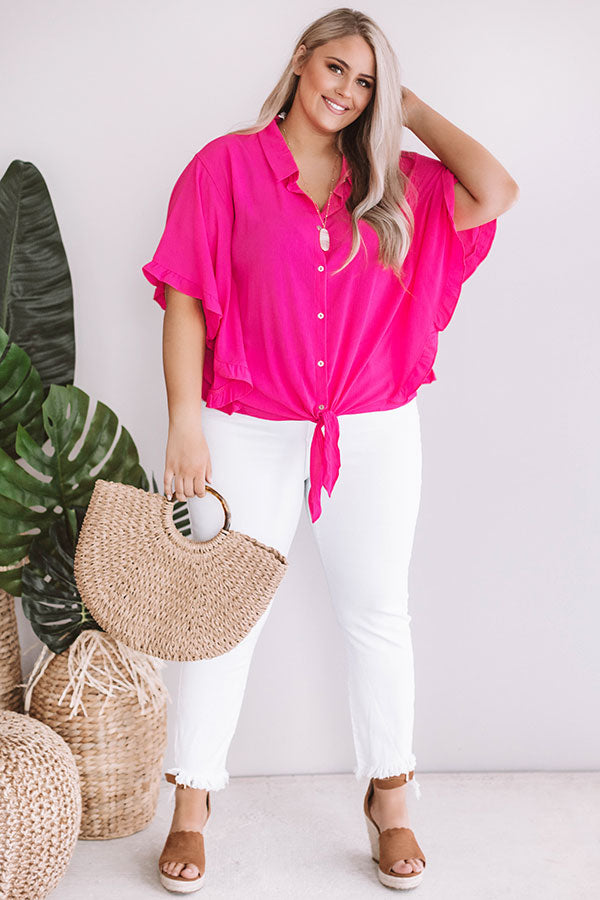 Champagne Hour Shift Top In Hot Pink
