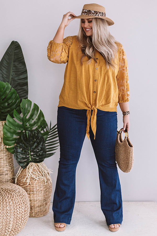 Prettier In Panama Tie Top In Mustard