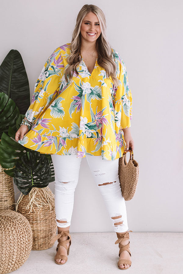 Hello, Bungalow Floral Babydoll Top In Yellow