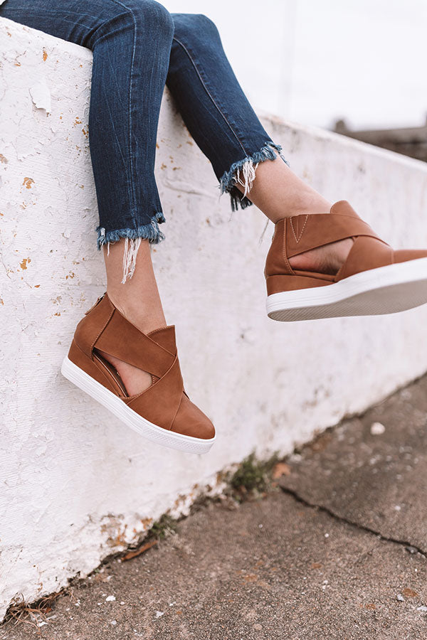The Calum Faux Leather Bootie In Camel