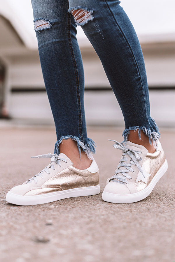 Shine Brighter Metallic Sneaker In Gold