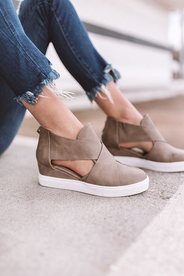 The Calum Faux Leather Bootie In Taupe