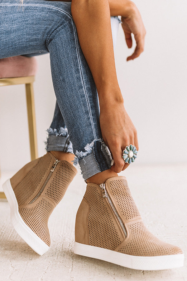 The Asher Perforated Bootie In Iced Latte