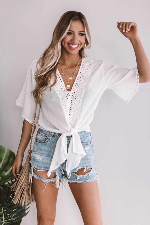 Downtown Brunch Eyelet Top