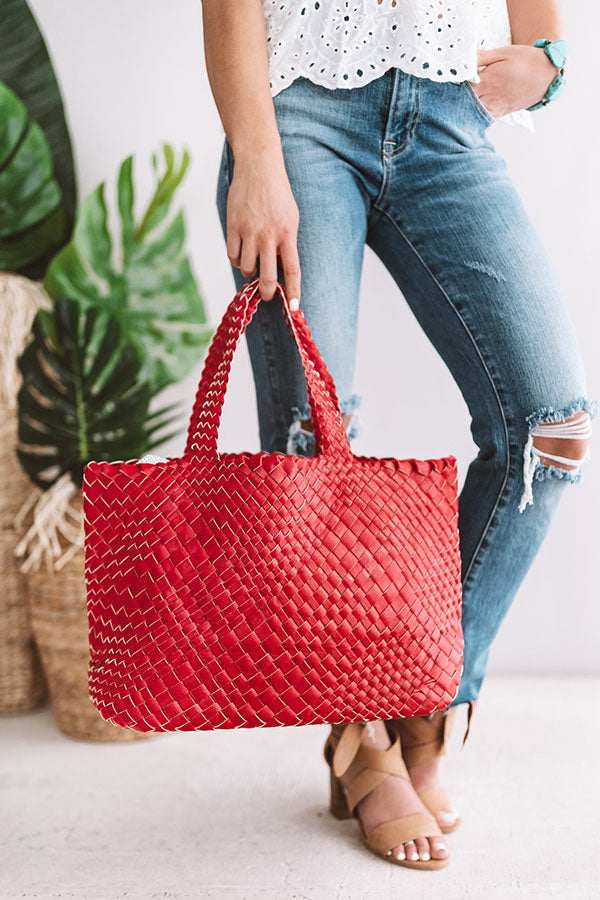 Uptown Bliss Woven Tote In Red