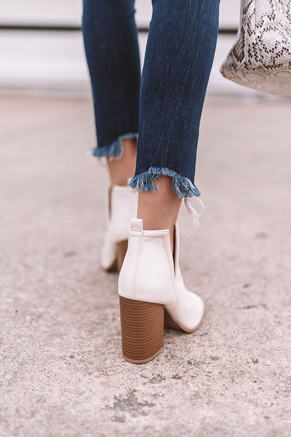 The Bonnie Faux Leather Peep Toe Bootie