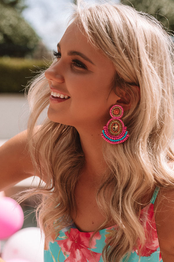 Genuinely Charming Earrings In Hot Pink
