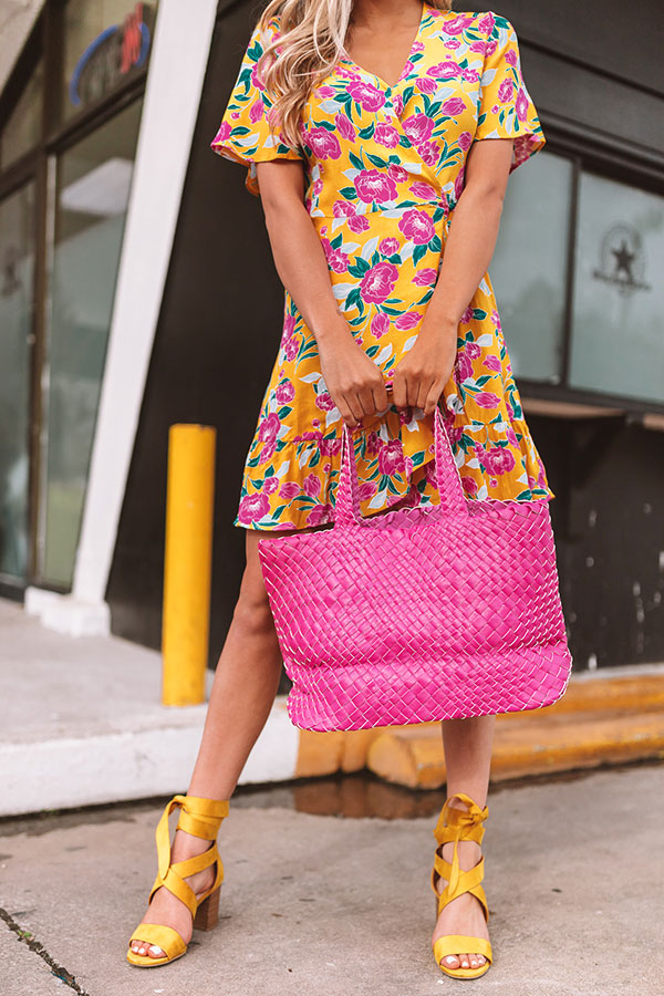 Uptown Bliss Woven Tote In Hot Pink