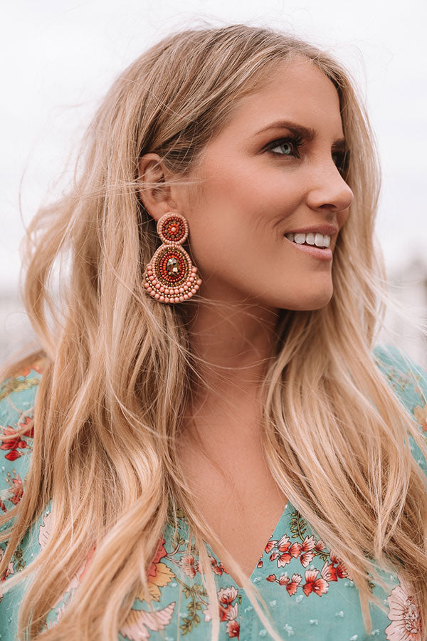 Genuinely Charming Earrings In Peach