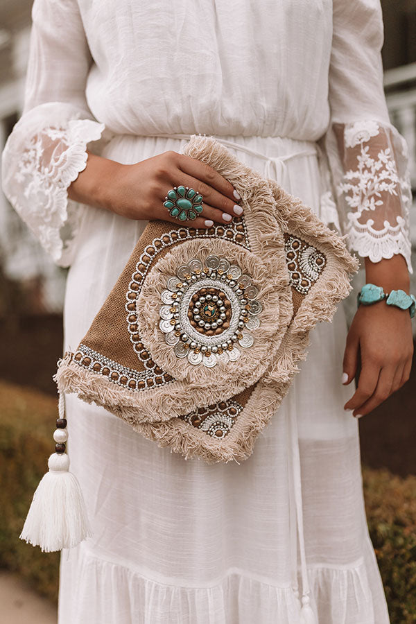Boho Bliss Embellished Clutch in Tan