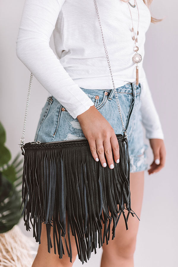 Fab And Fringe Crossbody In Black